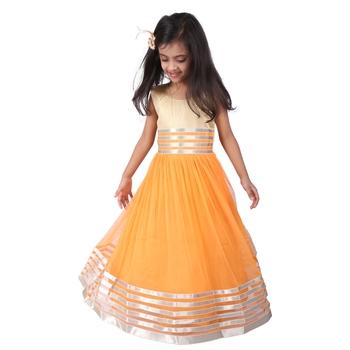 Orange & gold plain net kids frocks