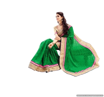 Nazraana-Green georgette weaving saree