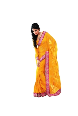 Nazraana-Yellow chiffon party saree
