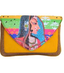 Buy Craftstages Digital Print Yellow sling Bags clutch online