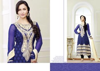 Blue Georgette Embroidered Salwar suit