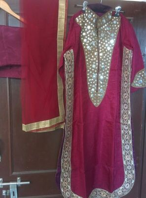 Maroon Raw silk designer Dress