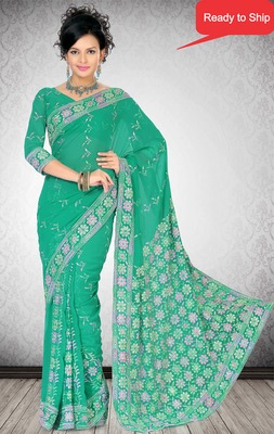 Green Color Faux Georgette Saree with Bloues