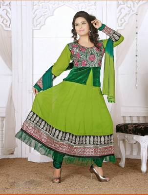 READYMADE ANARKALI SUITS COLLECTION – GREEN GEORGETTE ANARKALI SUITS