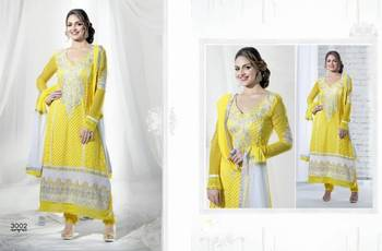 ESHA DEOL STYLE YELLOW ANKLE LENGTH GEORGETTE ANARKALI SUIT