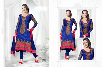 FANTASTIC COLOR COMBINATION BLUE GEORGETTE SALWAR KAMEEZ