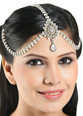 Traditional Design Matha Patti For Wedding Gold Finishing With Pearl And Stone In White