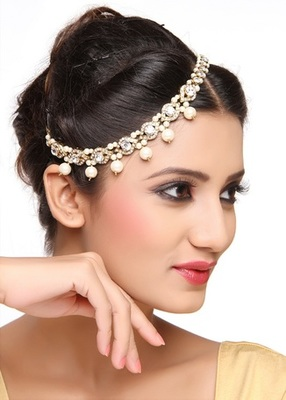 Classic Fashion Design Matha Patti For Wedding Gold Finishing With Pearl And Stone In White