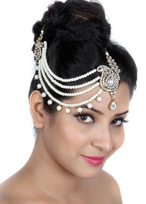 Fashion Trend Designer Four Line Matha Patti For Wedding Gold Finishing With Pearl And Stone In White