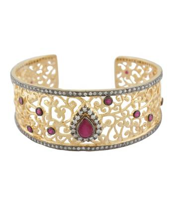 Golden Flowery Studded Cuff