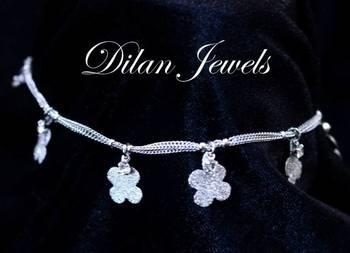 Silver Floral Anklets