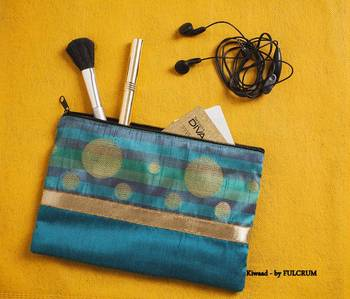 Diwali corporate gifts Silk Pouch - Teal