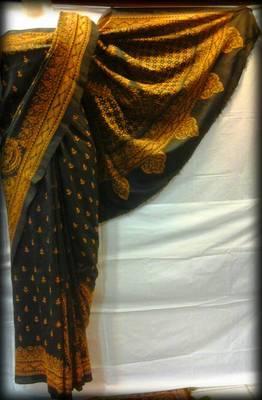 Pure Silk Kantha Saree in Black color k9