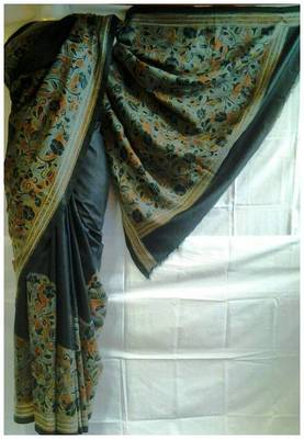 Silk Kantha Saree in black color k1