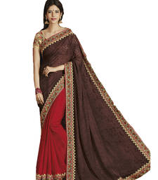 Buy Red and Brown printed brasso saree woith blouse Woman online