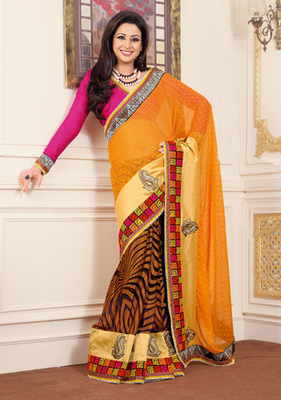 Hypnotex Chiffon+Georgette Orenge+Brown Saree Mace 2015