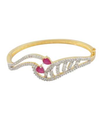 Pink & CZ Golden Glory Bangle