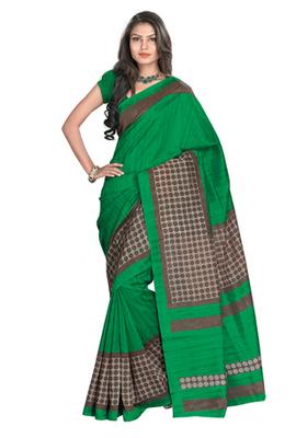 Hypnotex Art Silk Green Saree Silkina 6114B