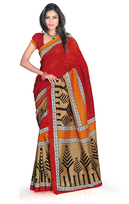 Hypnotex Art Silk Maroon+Cream Saree Silkina 6115A