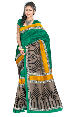 Hypnotex Art Silk Green+Chikoo Saree Silkina 6115B