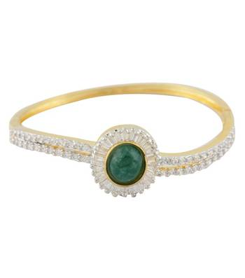 Green Sun CZ Studded Bangle