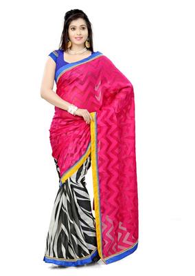 Hypnotex Bhagalpuri jacquard + cotton jacquard Off White+Pink Saree Tvisha 6001