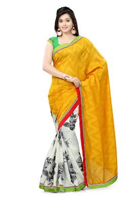 Hypnotex Bhagalpuri jacquard + cotton jacquard Yellow+Off White Saree Tvisha 6002