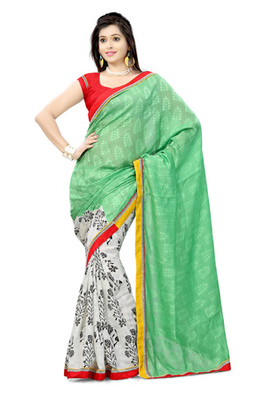 Hypnotex Bhagalpuri jacquard + cotton jacquard See Green+Off White Saree Tvisha 6006