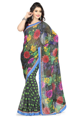 Hypnotex georgette + chiffon   Black Saree Tvisha 8003