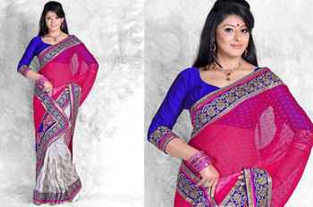 Hypnotex Chiffon+Art Silk Gray+Pink Saree Roshni 308