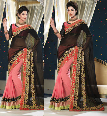 Hypnotex Georgette Pink+Black Saree Shringaar 5111