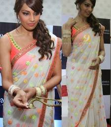 Buy Bipasha basu in white saree at maya jewels gitanjali inauguration saree bipasha-basu-saree online