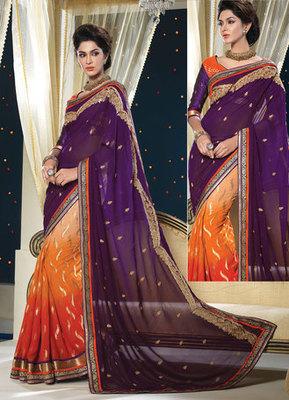 Hypnotex Georgette+Jacquard Purple+Orenge Saree Shringaar 5112
