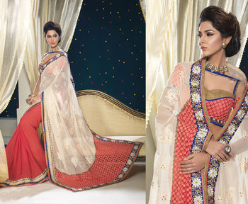 Hypnotex Georgette Off White+Peach Saree Shringaar 5113