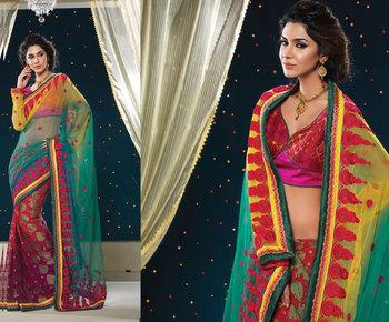 Hypnotex Net+Viscos Rama+Pink+Maroon Saree Shringaar 5118