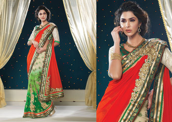 Hypnotex Georgette+Viscos Orenge+Green+Cream Saree Shringaar 5119