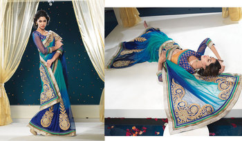 Hypnotex Net(santoon) Blue Saree Shringaar 5124