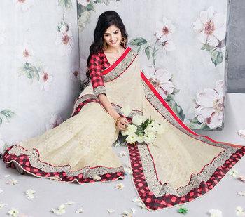 Hypnotex Art Silk Cream Saree Vasant 9315