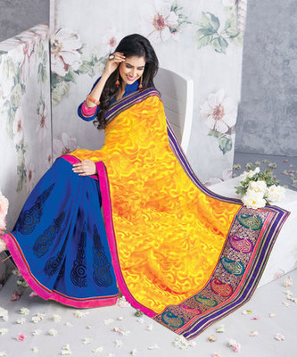 Hypnotex Art Silk Yellow+Blue Saree Vasant 9316