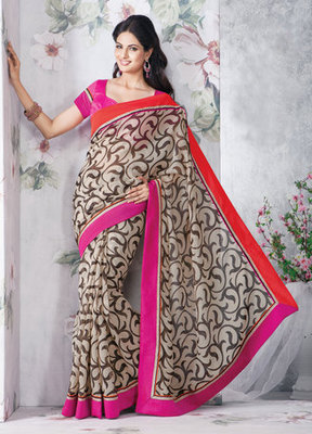Hypnotex Art Silk Cream Saree Vasant 9321
