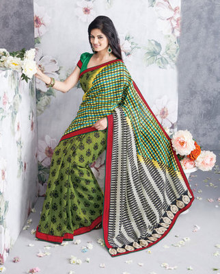Hypnotex Art Silk Green Saree Vasant 9335