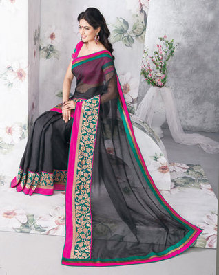 Hypnotex Art Silk Black Saree Vasant 9339