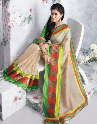 Hypnotex Art Silk Cream Saree Vasant 9340