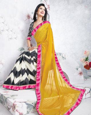 Hypnotex Art Silk Yellow+Black Saree Vasant 9342