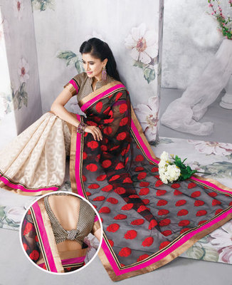 Hypnotex Art Silk Black+Cream Saree Vasant 9343