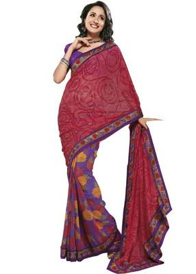 050e709564 Purple Red Crepe Designer Saree - Rajasthani Sarees - 173531