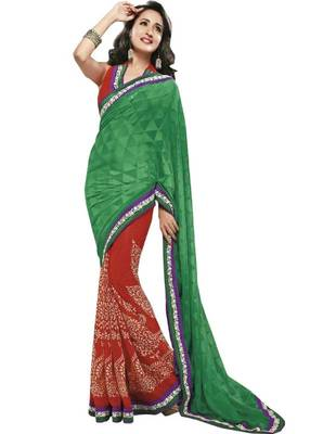 half Half Georgette Saree