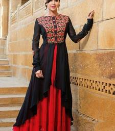 Buy Blue and red georgette embroidered semi stitched salwar with dupatta bollywood-salwar-kameez-online online