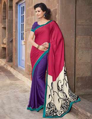 Hypnotex Art Silk Maroon+Cream+Blue Saree Paris 9607