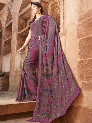 Hypnotex Art Silk Pink Saree Paris 9616